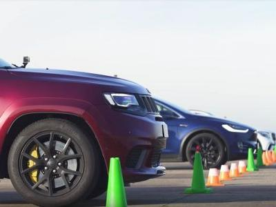 Can This Jeep Trackhawk Beat A Tesla Model X In A Straight Line?