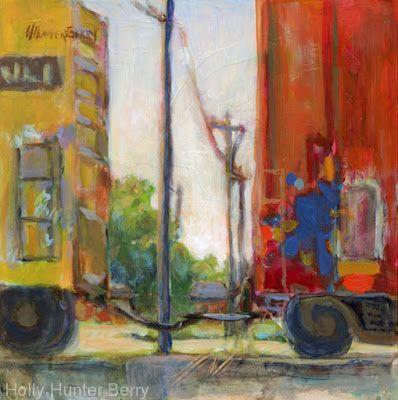 """Train, Red Train Car, Railroad,Contemporary Mixed Media Painting, Original Painting """"Two Worlds"""" by Passionate Purposeful Painter Holly Hunter Berry"""