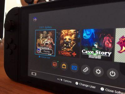 Close-up images show Nintendo Switch user interface
