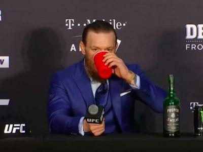 Conor McGregor slugged whiskey at his post-fight press conference after flaming his critics for saying he only had 1 skill