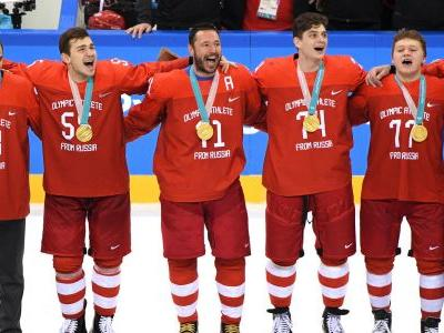 Winter Olympics 2018: Russian hockey players sing banned national anthem after winning gold