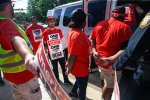 58 arrested and fined outside American Airlines HQ in catering workers protest