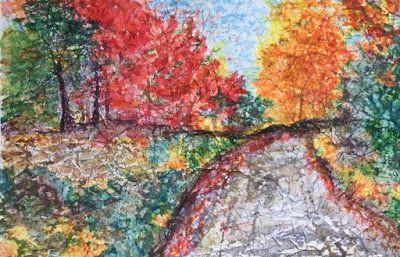 """Contemporary Landscape Art Painting, River, Rocks, """"Crisp Fall Day"""" by Arizona Abstract Artist Cynthia A. Berg"""