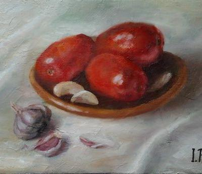 """Original oil painting """"Tomatoes and garlic"""". Size 6,9 x 9,8 inch (17,5 x 25 cm). Canvas on hardboard"""