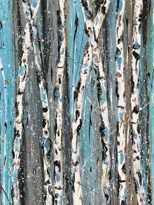 """Holiday Sale Aspen Tree Painting,Abstract Landscape,Birch Trees """"Saplings in Winter III-Winter Aspens 2017 Series"""" by Colorado Contemporary Landscape Artist Kimberly Conrad"""