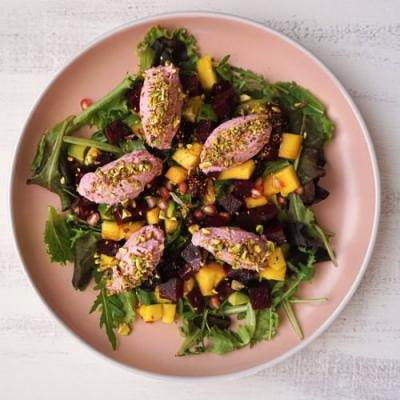 Mango, beets and goat cheese salad