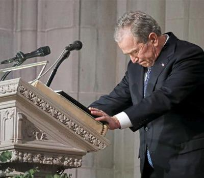 George H.W. Bush eulogized by those gathered 'to mark the end of an era'