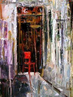 "Abstract Still Life Painting ""Red Chair"" by Texas Artist Debra Hurd"