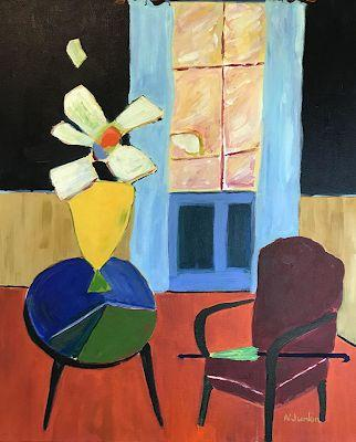 "Interior View, Flower Painting, Expressionist Floral,Painting, Still Life ""Yellow Vase"" by Oklahoma Artist Nancy Junkin"