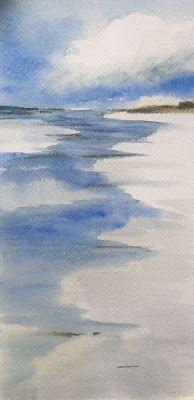 """Contemporary Watercolor Beach Scene, """"Reflection,"""" by Amy Whitehouse"""