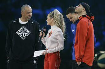 The Latest: Curry, Mourning, Rice, Bogues feted as legends