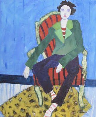 """Figurative Art Painting, Interior View, Red Chair """"Concentration"""" by Oklahoma Artist Nancy Junkin"""
