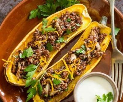 Stuffed Delicata Squash with Quinoa and Mushrooms