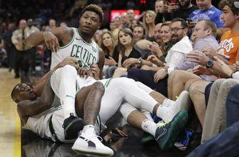 NBA fines Celtics' Smart, Cavs' Smith for shoving match