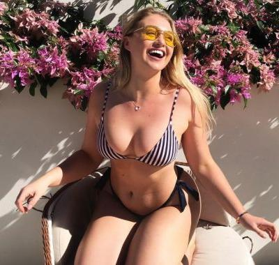 Iskra Lawrence corrects an online newspaper headline calling her plus size