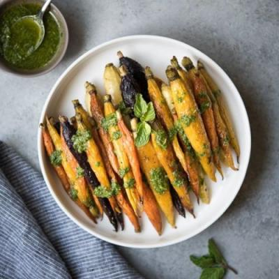 Roasted Carrots with Cilantro Mint