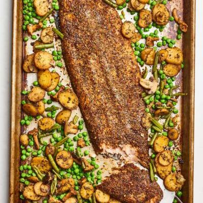Recipe: Trader Joe's Sheet Pan Crispy Salmon & Veggies