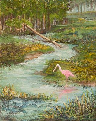 "Original Florida Coastal Wildlife Art Paintings, Spoonbill, ""Roseate Spoonbill"" by Florida Impressionism Artist Annie St Martin"