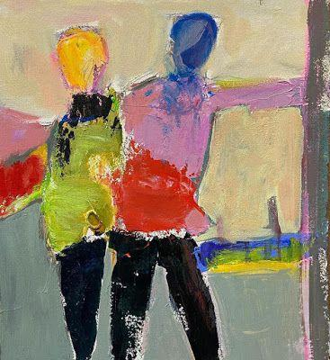 """Abstract Female Figurative Painting,""""Leading the Way"""" by Oklahoma Artist Nancy Junkin"""