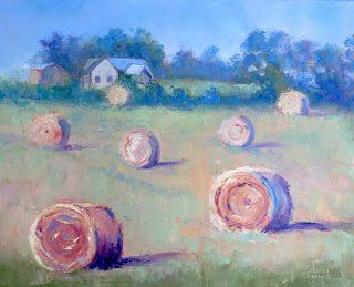 Farmer's Hay Bales, New Contemporary Landscape Painting by Sheri Jones