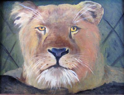 Lioness,Cat, oil painting,miniature,canvas,Barbara Haviland