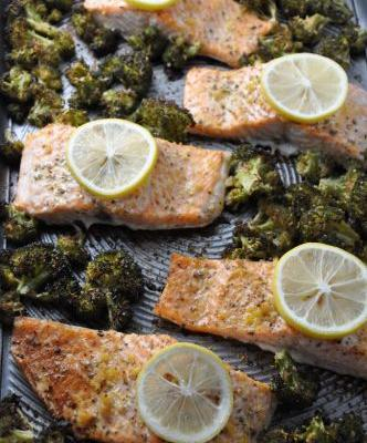 One-Pan Garlic Roasted Salmon and Broccoli