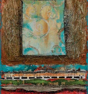 "Mixed Media Contemporary Abstract Painting,""Sky Window"