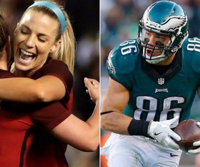 Eagles star and soccer-star wife share cross-country tears of joy