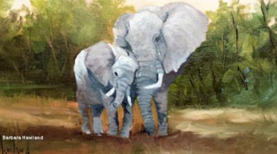 Mother Love Elephants,wildlife,oil painting, canvas,framed, by Barbara Haviland Texas Contemporary Artist