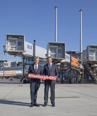 Hamburg Airport and Emirates present A380 gate with three boarding bridges