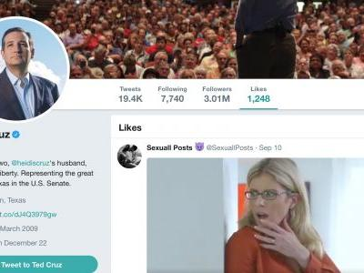 Ted Cruz Breaks Twitter After His Personal Verified Account 'Likes' a Porn Clip