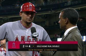 Hear from José Briceño on the field after the Angels exciting extra innings win