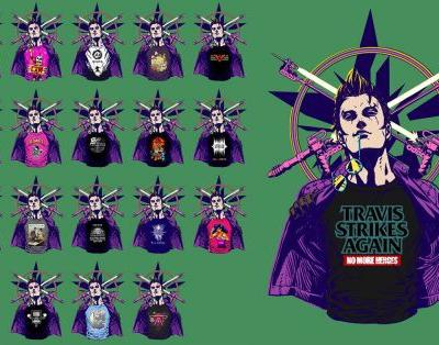 These are all the indie game t-shirts in Travis Strikes Again: No More Heroes