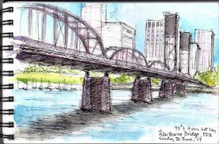 3RD SAT. APRIL 20 SKETCH CRAWL - Hawthorne Bridge, from OMSI