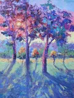 Morning Tree Light, New Contemporary Landscape Painting by Sheri Jones