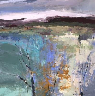 "Contemporary Abstract Mixed Media Landscape Painting ""PRAIRIE COLOR"" by Intuitive Artist Joan Fullerton"