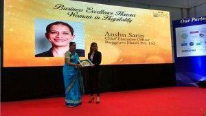 Anshu Sarin bagged the Business Excellence - Woman in Hospitality Award