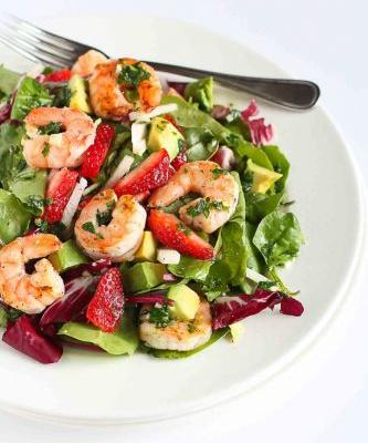 Seared Shrimp Avocado Salad with Strawberries & Jicama