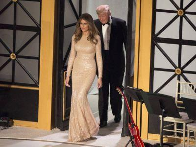 Here come the parties: Photos reveal Melania draped in gold as the Trumps celebrate in D.C
