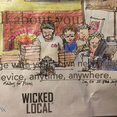 """Day 510 """"Waiting for Pizza"""" ink & pencils on newspaper"""