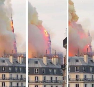 The iconic spire on top of the Notre-Dame cathedral is already gone
