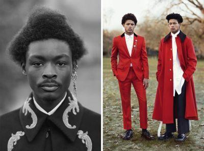 Beautiful men wearing Alexander McQueen in a London park