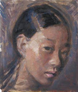 Portrait of an Asian girl oil painting