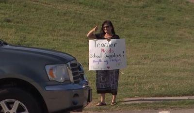 In need of school supplies, teacher panhandles for help