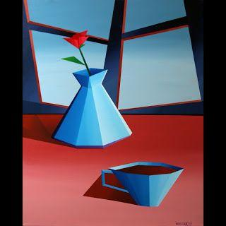 Mark Webster - Abstract Geometric Coffee with Flower in Vase Acrylic Painting