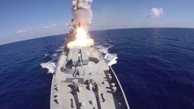 Russian battleships & submarine fire 6 cruise missiles on ISIS targets in Syria - MOD