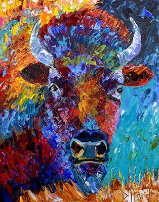 """Bison Painting, Buffalo, Contemporary Wildlife, Palette Knife Oil Painting """"The Wild"""" by Texas Artist Debra Hurd"""