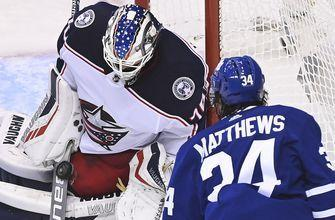 Korpisalo's 28 saves lift Blue Jackets to 2-0 victory over Maple Leafs in Game 1
