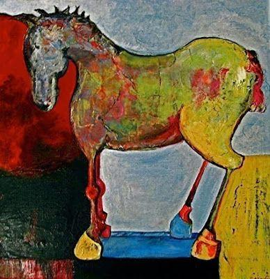 "Mixed Media Horse Art ,Equine Painting ""Toy Horse"" by California Artist Cecelia Catherine Rappaport"