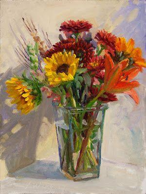 Flower flora bouquet still life impressionism original oil painting contemporary direct from artist